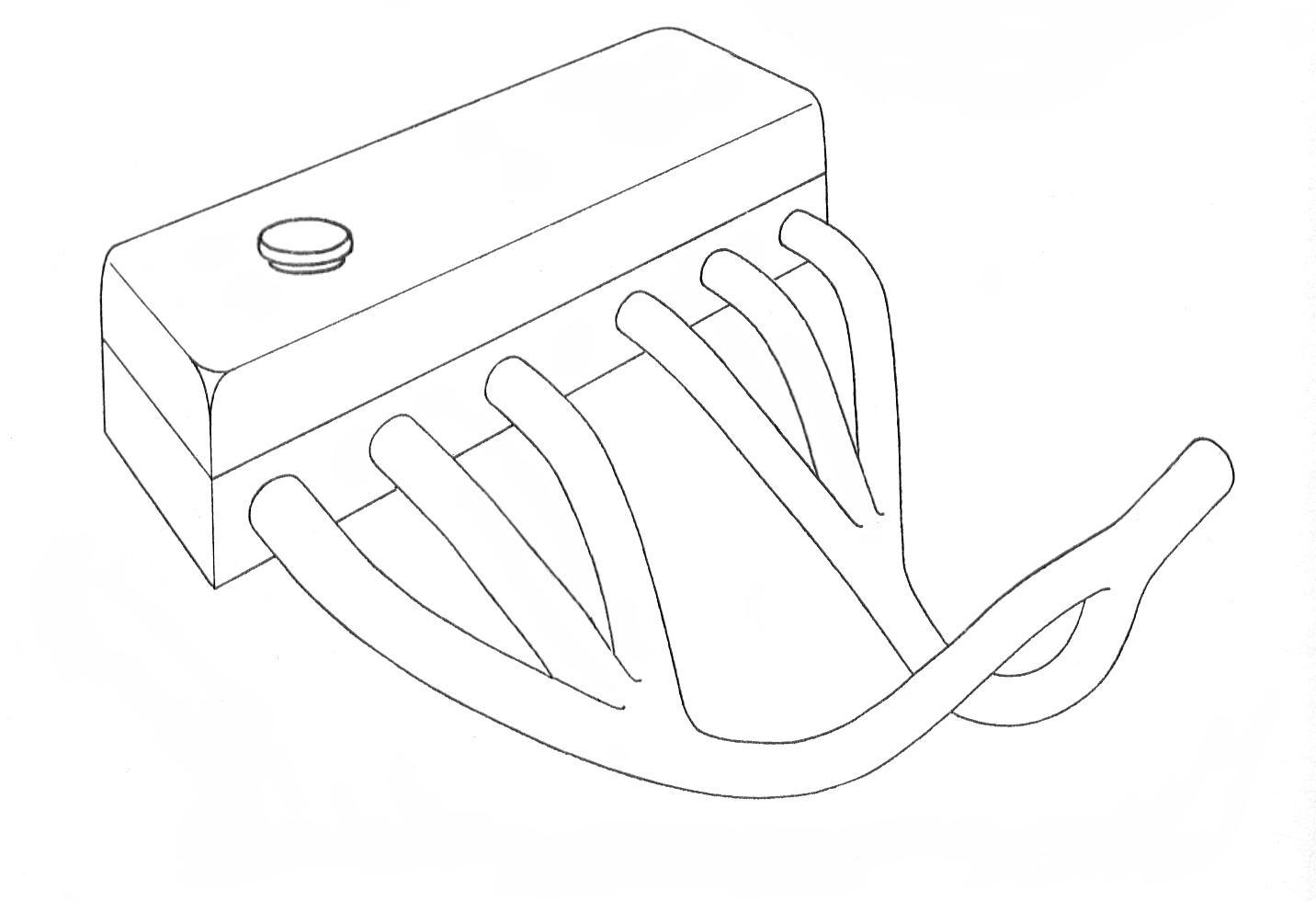 Classic short branch tubular manifolds for a six cylinder engine