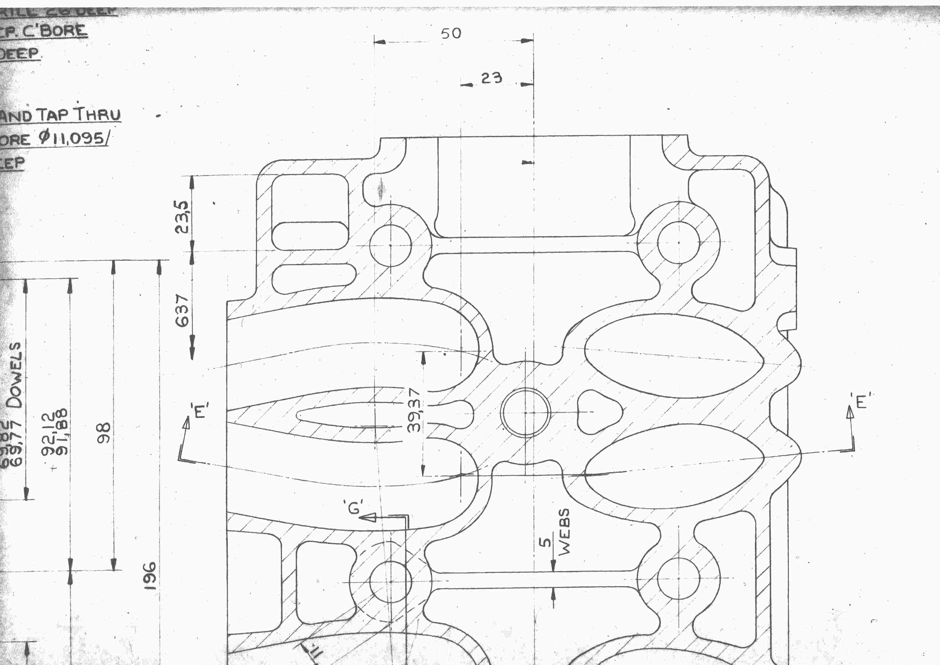 Horizontal cross section of Jaguar slant six four valve head from 1975.