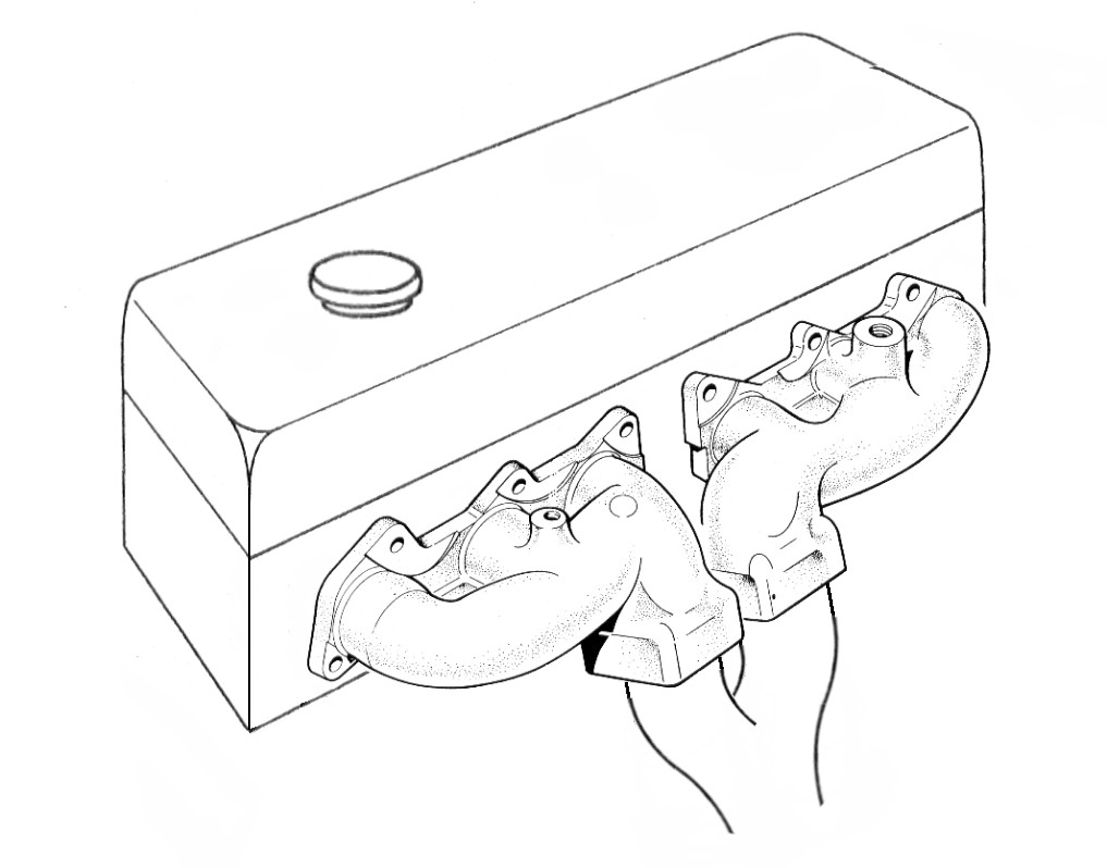 A typical pair of cast manifolds (headers) for a six cylinder engine